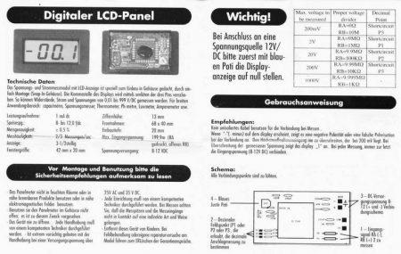 3,5 dig. LCD panelműszer